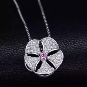 🆕925 Pink Sapphire AAA CZ Pendant